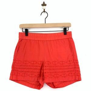 J.Crew Red Mid Rise Eyelet Shorts Size XXS Cotton
